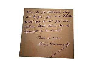 Lettre Autographe Signée avec enveloppe de Pierre Decourcelle à: DECOURCELLE