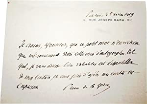 Lettre Autographe signée Pierre de la Gorce à un ami, Paris, le 3 Février 1919...