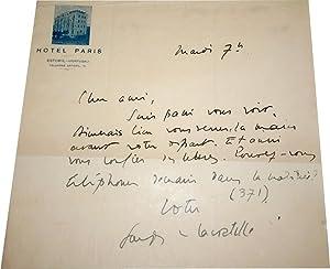 Lettre Autographe signée à Max Fischer sur papier entête de L'Hotel de ...