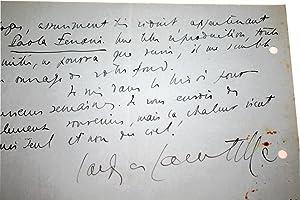 Lettre Autographe signée à Max Fischer, le 25/03/01937.: LACRETELLE (...