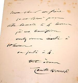 Lettre Autographe Signée adressée à un confrère anonyme lui fixant un: ...