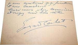 Lettre Autographe Signée.: COCHET-AVRANCHES GERARD.