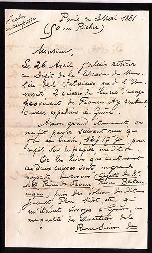 Belle lettre autographe signée de l'écrivain historien John Grand-Carteret . ...