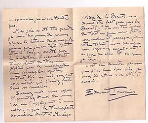 Très belle lettre autographe signée de l'ecrivain Edouard Tavernier adress&...