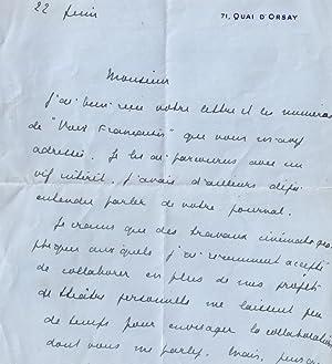 Très belle lettre autographe signée à entête 71 quai d'Orsay de: ...