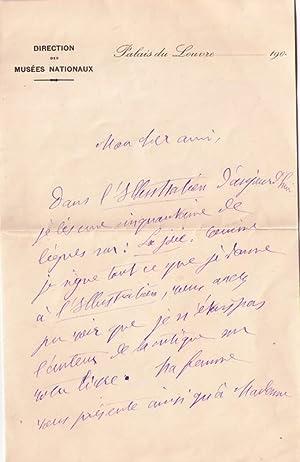 Lettre autographe signée à entête de la direction des Musées Nationaux: ...
