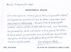 Carte autographe signée de Dominique Rolin. 10 Janvier 1992.: ROLIN (Dominique).