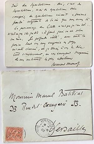 Très belle lettre autographe signée du critiqueBernard Monod adressée: MONOD (...