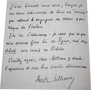 Lettre Autographe Signée et datée du 4 Juin 1930.: André BELLESSORT