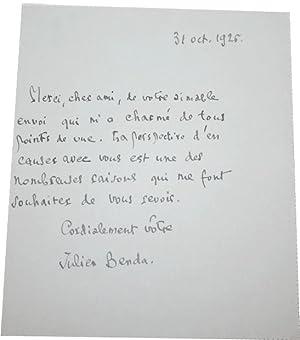 Lettre Autographe Signée et datée du 31 Octobre 1926.: BENDA (Julien).