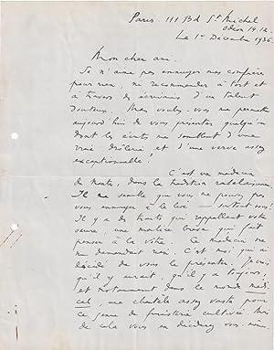 Lettre Autographe Signée et datée du 1er décembre 1936.: BENJAMIN René [Paris,...