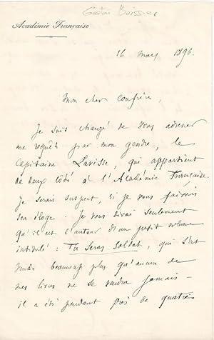 Lettre Autographe Signée, du 16 Mars 1896 sur papier entête de: BOISSIER (Gaston).