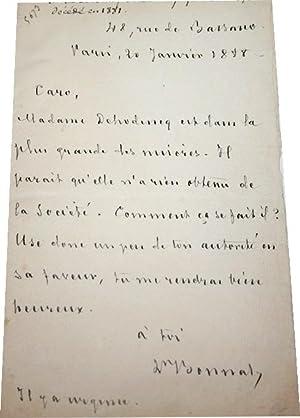 Lettre Autographe Siignée du 20 Janvier 1888 adressée à Caro au sujet du ...