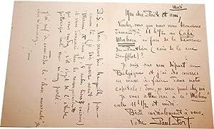 Lettre Autographe Signée Paul Fort à un confrère. Prise de rendezvous: FORT (...