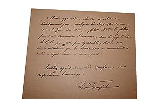 Lettre Autographe Signée du 8 décembre 1923.: FRAPIE (Léon).