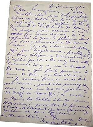 Lettre Autographe Signée adressée à André du Fresnois au sujet d'...