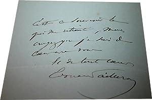 Lettre Autographe Signée adressée à un ami pour lui témoiger toute son ...