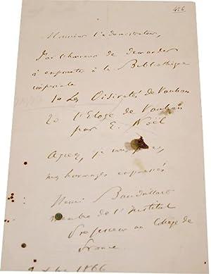 Lettre Autographe Signée datée de 1866 adressée à Monsieur: BAUDRILLART...