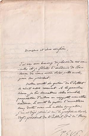 Belle lettre autographe signée de l'historien genevois Jules Vuy, adressée &...