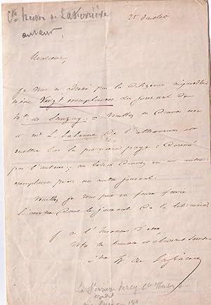 2 Lettres autographes signées du Comte Hector de La Ferrière. Il a adressé par...