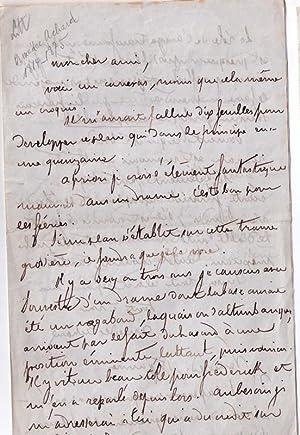 Belle lettre autographe signée d' Amédée Achard. Il essaie d'adapter: ...