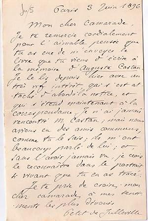 Belle lettre autographe signée de Louis PETIT de JULLEVILLE adressée à L&...