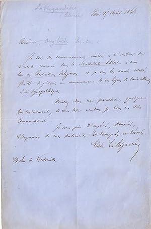 Lettre autographe signée d'Elisée La Rigaudière adressée au s&...