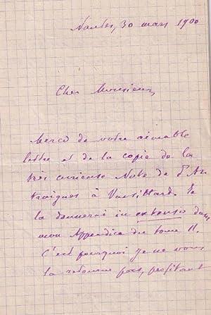 Intéressante lettre autographe signée de écrivain et critique litté...