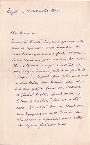 Belle lettre autographe signée de l'historien Geoffroy de Grandmaison: GRANDMAISON