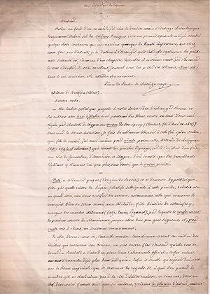 Lettre autographe signée du Marquis Pons de la Chataigneraye (dit le Prince de Pons) adress&...