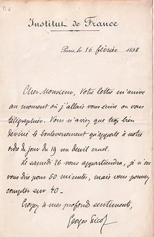 Belle lettre à entête de l'Institut de France autographe signée du: PICOT ...