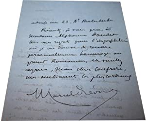 Lettre Autographe Signée Marcel Prévostadressée à un confrère, datée: PREVOST (Marcel).