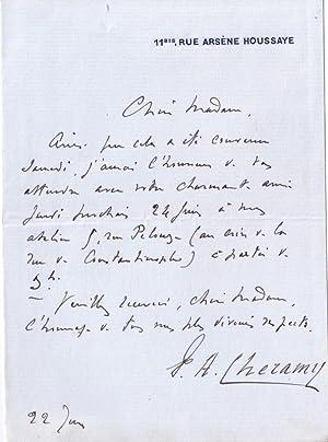 Lettre autographe à entête 11 bis rue Arsène Houssaye. signée du ...