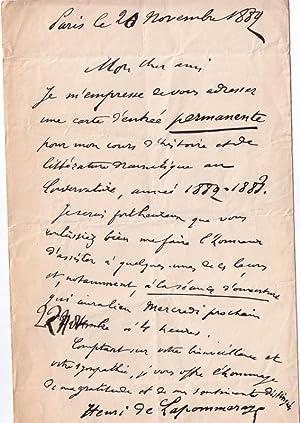 Lettre autographe signée du Critique dramatique Henri de la Pommeraye,: DE LA POMMERAYE