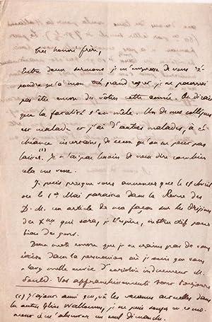 Lettre autographe signéedu théologien Albert Réville adréssée &...
