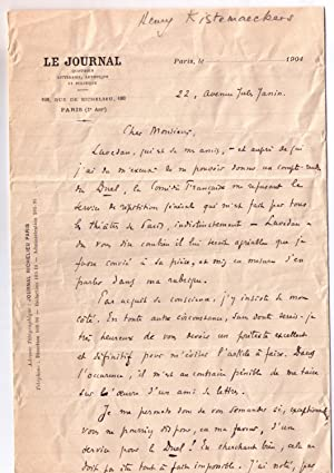 """Lettre autographe à entête """" Le Journal, 100 rue de Richelieu """" signé..."""