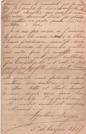 Belle lettre autographe signée d'Agustín Aragon adressée à Paul ...