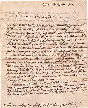 Belle lettre autographe signéede l'écrivain historien ClaudeNicolas: AMANTON
