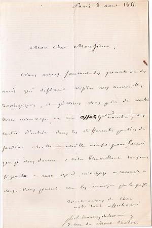 Lettre autographe signée par l'agronome Marie-Joseph Monny de Mornay. Il demande un grand ...
