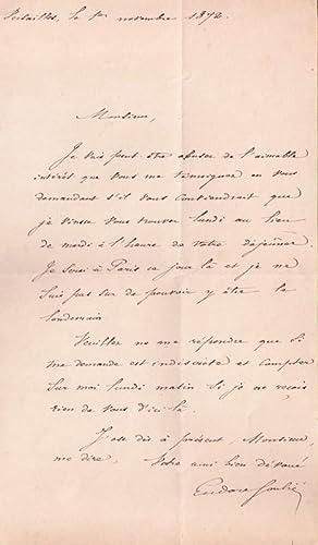 Lettre autographe signée de l'historien Eudore Soulié. Il veut décaler un...