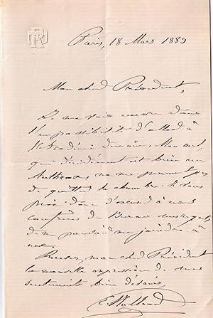 Lettre autographe signée de l'ethnologue Eugène Rolland adressée au Pré...