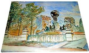 Aquarelle finement réalisée représentant le jardin du Luxembourg à ...