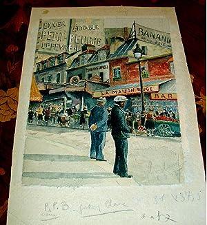 Aquarelle décrivant l'ambiance des rues commercantes de Montmartre dans les années 40...