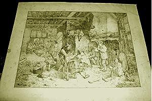 Magnifique dessinmine de plomb du milieu du XIX ème siècle. Scène: Dessin ...