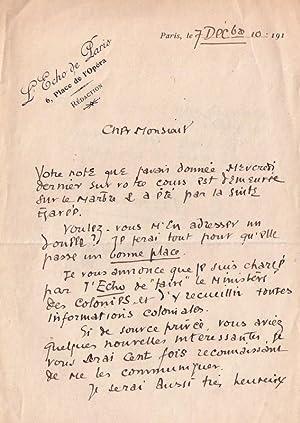 Lettre autographe à entête de l Echos de Parissignée de l' Essayiste: BAUËR (Gérard