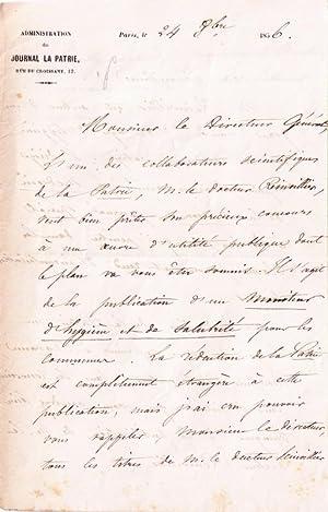 Lettre autographe à entête du Journal la Patrie, signée du rédacteur: ...