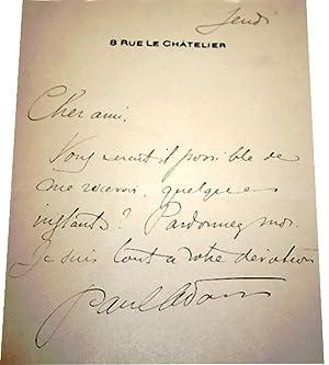 Lettre Autographe Signée.: ADAM (Paul).