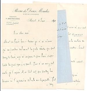 Lettre Autographe Signée sur papier entête de la REVUE DES DEUX MONDES,: BRUNETIERE