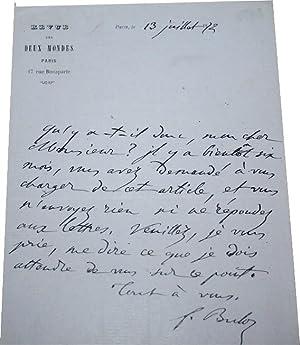 Lettre Autographe Signée sur papier entête de la REVUE DES DEUX MONDES,: BULOZ (...