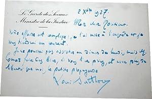 C.A.S.: Carton Autographe Signé sur entête Le Garde des Sceaux,: BARTHOU (Louis).